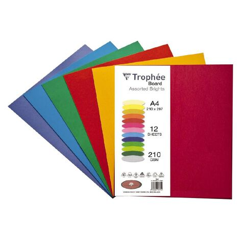 Trophee Board 210gsm 12 Pack Brights Assorted A4