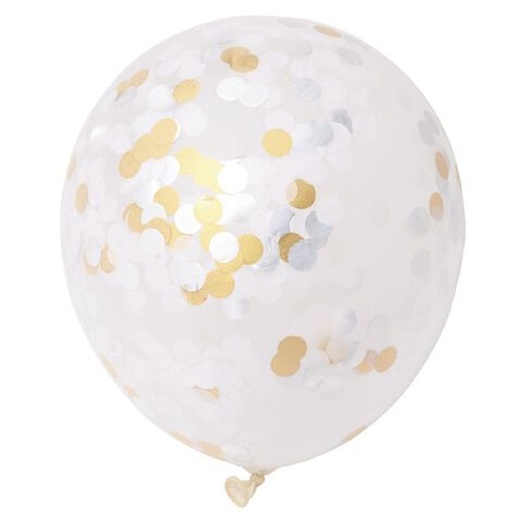 Artwrap Party Confetti Balloons Formal Foil Gold/Silver 30cm 3 Pack