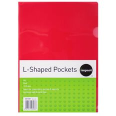 WS L-Shaped Pockets 10 Pack Red A4