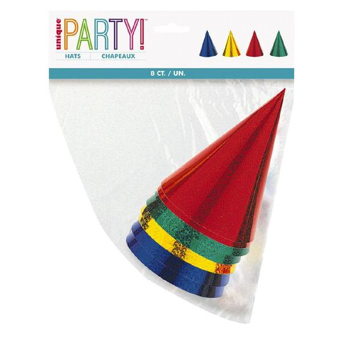 Unique Party Hats Prismatic 8 Pack
