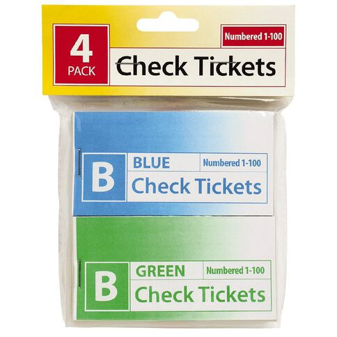Marbig Check Tickets 4 Pack Assorted