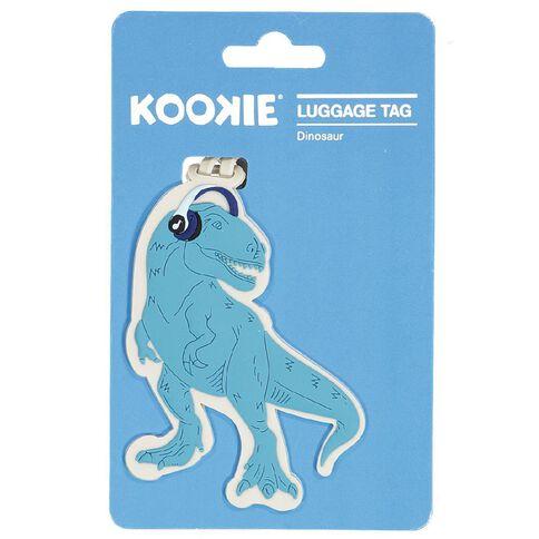 Kookie Silicone Luggage Tag Dinosaur 10cm x 7.7cm