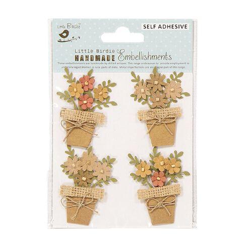 Little Birdie Shades of Brown Flower Pots 4 Piece Kraft Expresstion