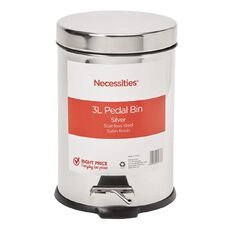 Necessities Brand Pedal Bin Stainless Steel Silver 3L