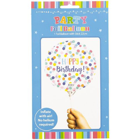 Artwrap Foil Balloon with Stick Birthday Confetti 22cm
