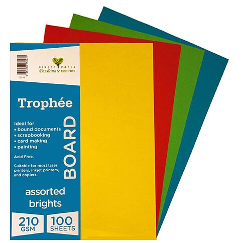 Trophee Board 210gsm 100 Pack Brights Assorted A4