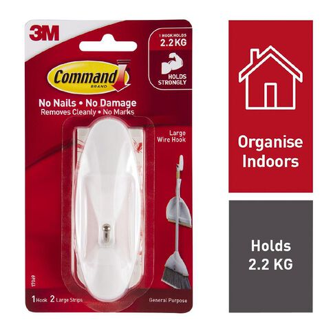 Command Adhesive Large Wire Hook White
