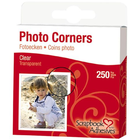 3L Scrapbook Adhesives Paper Corners 250 Pack Clear