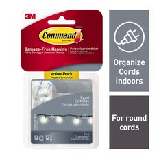 Command Round Cord Clips with Strips Value Pack Clear