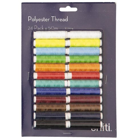 Uniti Polyester Thread 24 Pack x 50m Multi-Coloured