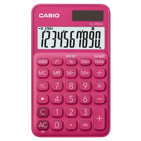 Casio SL310UCRD Hand Held 10 Digit Calculator Red