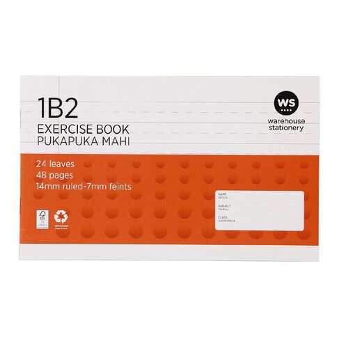 WS Exercise Book 1B2 7mm/14mm Ruled 24 leaf Red