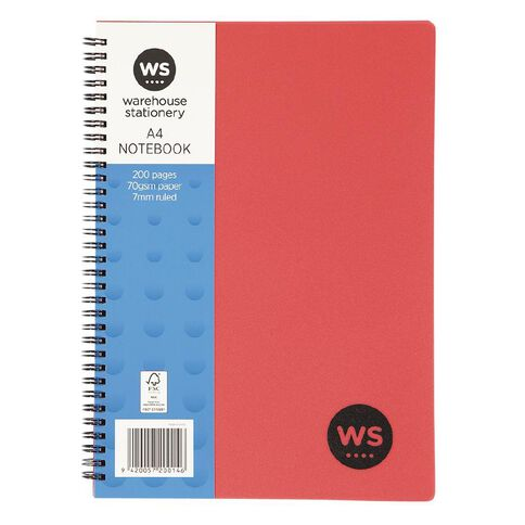 WS Notebook PP Wiro 200 Pages Soft Cover Red A4