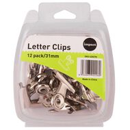 WS Letter Clips 31mm 12 Pack Silver