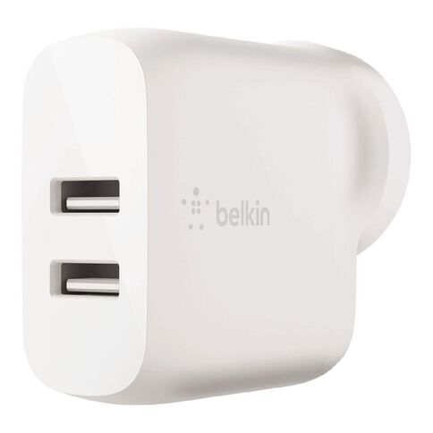Belkin BoostCharge 24W Dual USB-A Wall Charger White