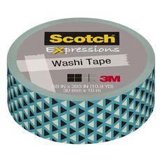 Scotch Washi Craft Tape 15mm x 10m Teal Triangles