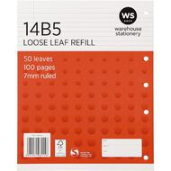 WS Pad Refill 14B5 7mm Ruled 50 Leaf Red
