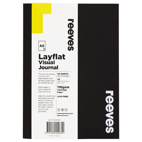 Reeves Visual Journal Layflat Black A5 30 Sheets Black