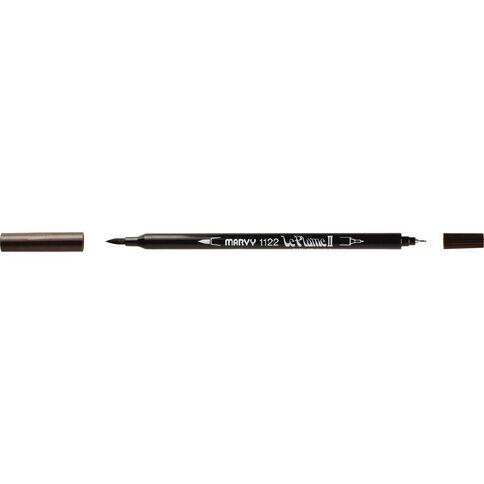 MARVY Le Plume II Dual Tip Marker Dark Brown
