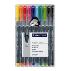 Staedtler Triplus Roller Pen Wallet Of 10 Mixed Assortment