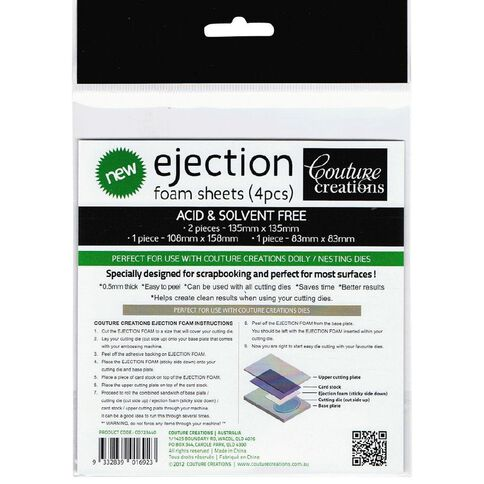 Couture Creations Ejection Foam Sheets 4 Pack