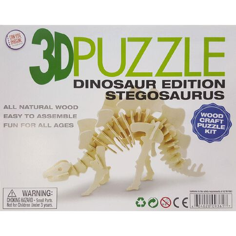 3D Dinosaur Edition Wooden Puzzle Assorted