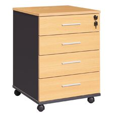 Workspace Office Brand Mobile 4 Drawer Tawa