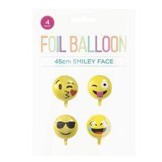 No Brand Emoji Foil Balloons 45cm Yellow 4 Pack