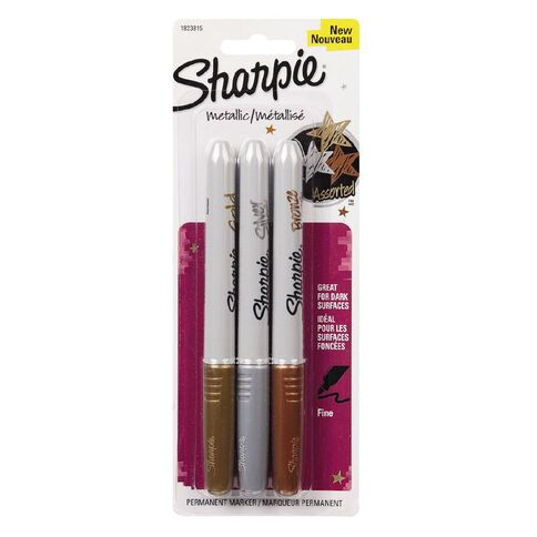 Sharpie Metallic Markers Gold/Silver/Bronze Gold 3 Pack