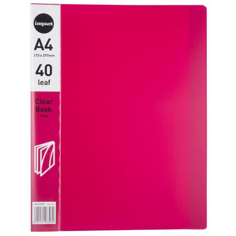 WS Clear Book 40 Leaf Pink A4