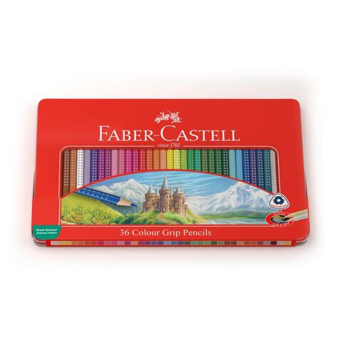 Faber-Castell Colour Grip Tin Of 36 Assorted