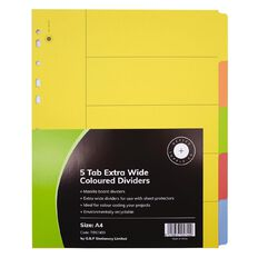 Office Supply Co 5 Tab X Wide Coloured Manilla  Dividers