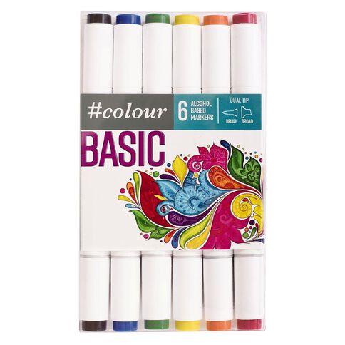#colour Double Ended Markers Set 6 Brights Multi-Coloured