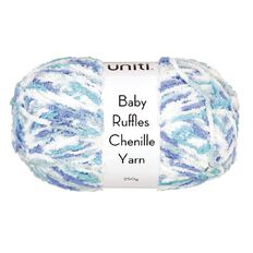Uniti Yarn Baby Ruffles Chenille Blue/White Single Ply 250g
