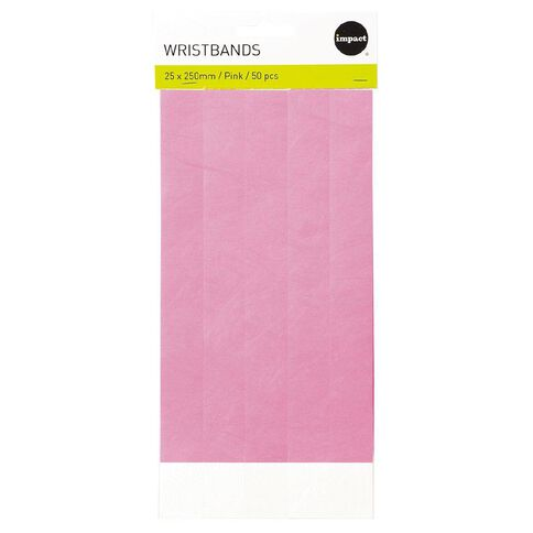 Impact Wristbands Pink 50 Pieces