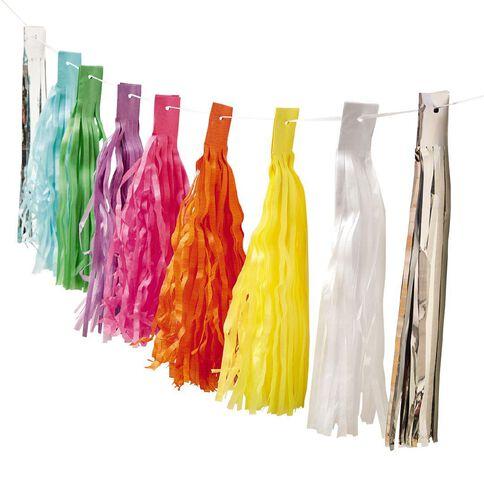 Party Inc Rainbow Tassel Garland 3m