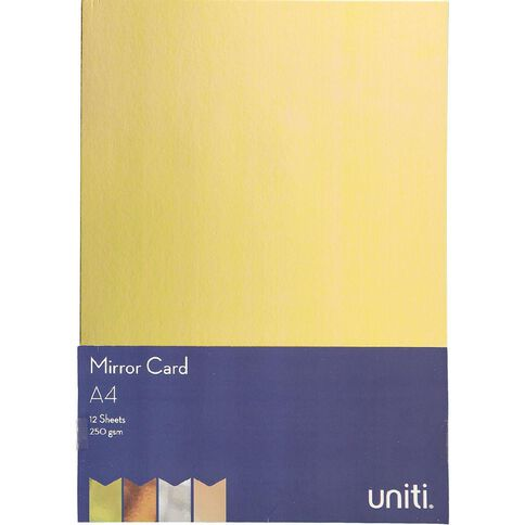 Uniti Value Cardstock Mirror 250gsm 12 Pack A4