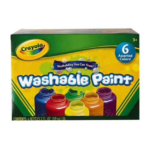 Crayola Washable Paints Colours Assorted 6 Pack