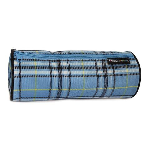 Pencil Case Crosshatch Check Blue