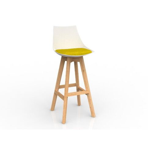 Luna White Bumblebee Yellow Oak Base Barstool