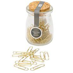 Uniti Gold Paper Clips In Jar 125 pieces Gold