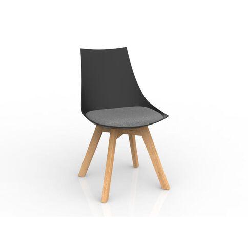 Luna Black Stone Grey Oak Base Chair Grey