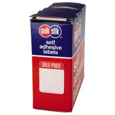 Quik Stik Labels Sale Price Removable 400 Pack White