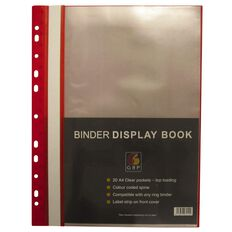 GBP Stationery Binder Display Book 20 Pocket Red A4