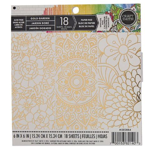 Craft Smith Colouring Gold Garden Foiled Pad 6in x 6in 18 Sheet White