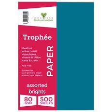Trophee Paper 80gsm 500 Pack Brights Assorted A4