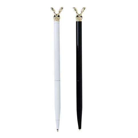 Uniti Black&Gold Ball Pen Bunny Heads 2 Pack