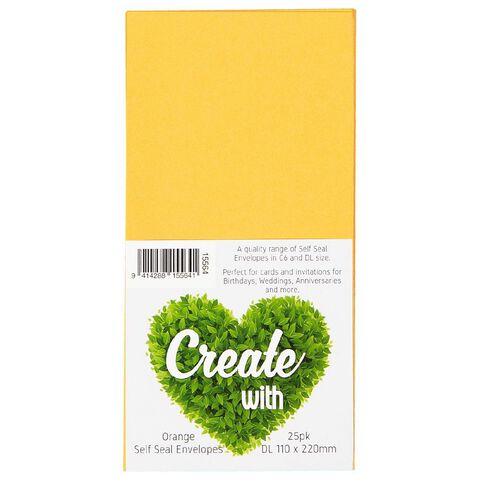 Create With DL Envelope 25 Pack Orange