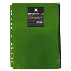Office Supply Co Binder Zip Lock Wallets Multi Hole Spine Green A4