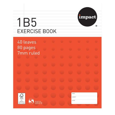 WS Exercise Book 1B5 7mm Ruled 40 Leaf Red